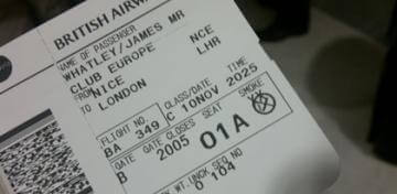 Boarding pass for flight from Nice, France to London, UK