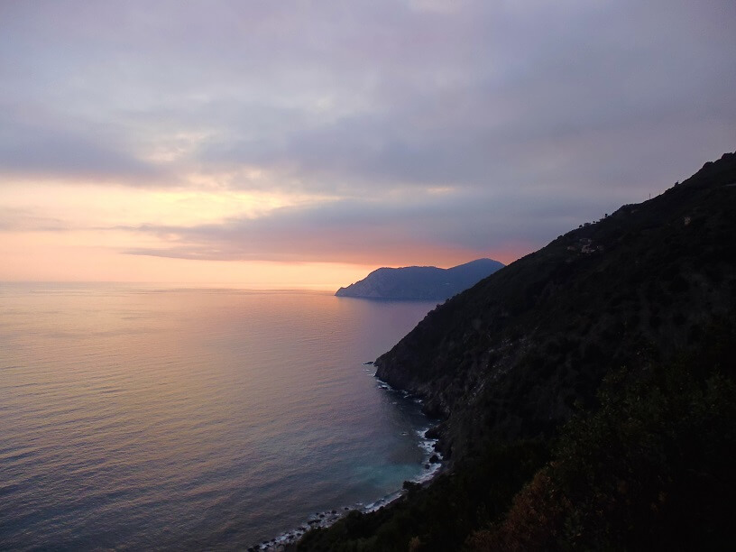 Sunset photo over the Ligurian Sea, Italy