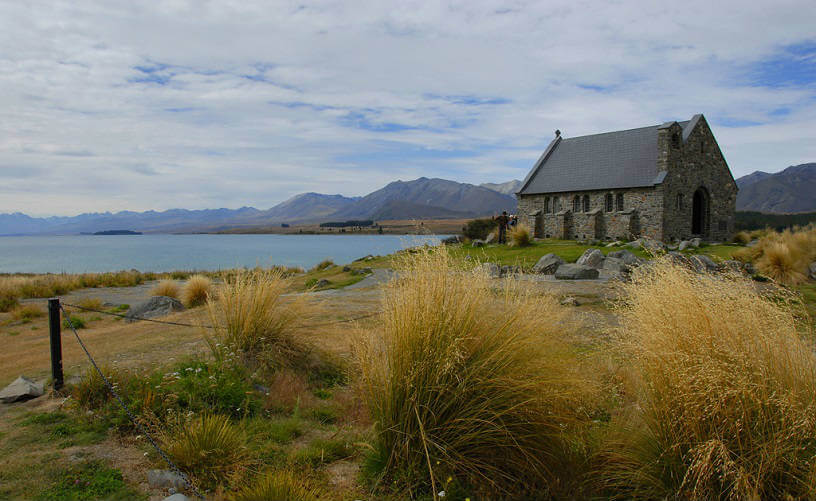 Church at Lake Tekapo , South Island, New Zealand
