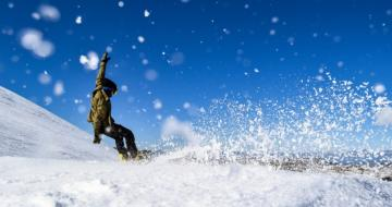 Snowboarder Falling In The Snowy Mountains Australia