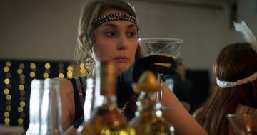 Lady drinking a martini