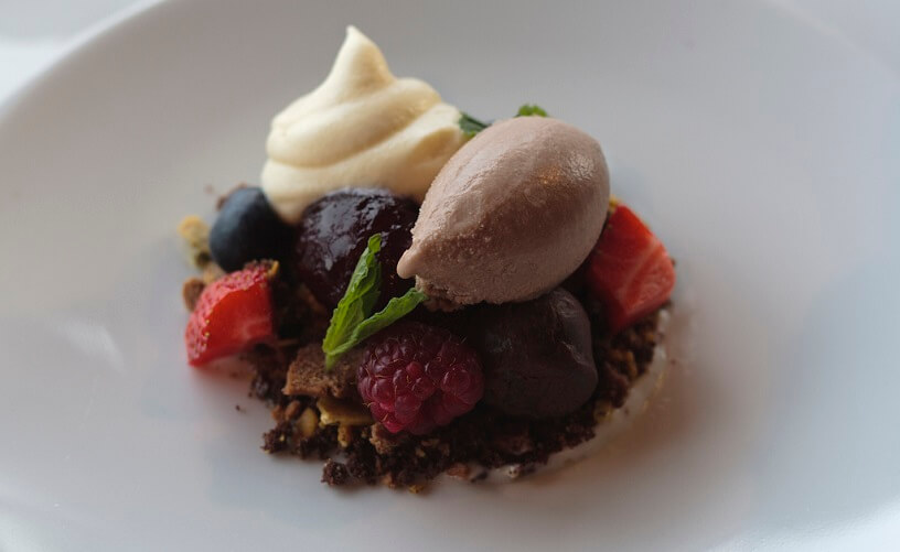 Photo of berries and Chocolate Ice Cream